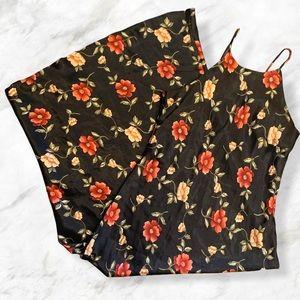 Vintage 90s High Neckline Floral Satin Maxi Dress